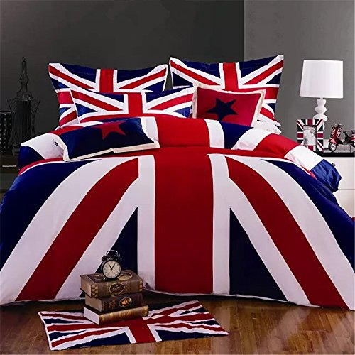 Auvo Bedding Set, UK/US Flag American United Kingdom Duvet Covet Set (Full/Queen, UK Flag)