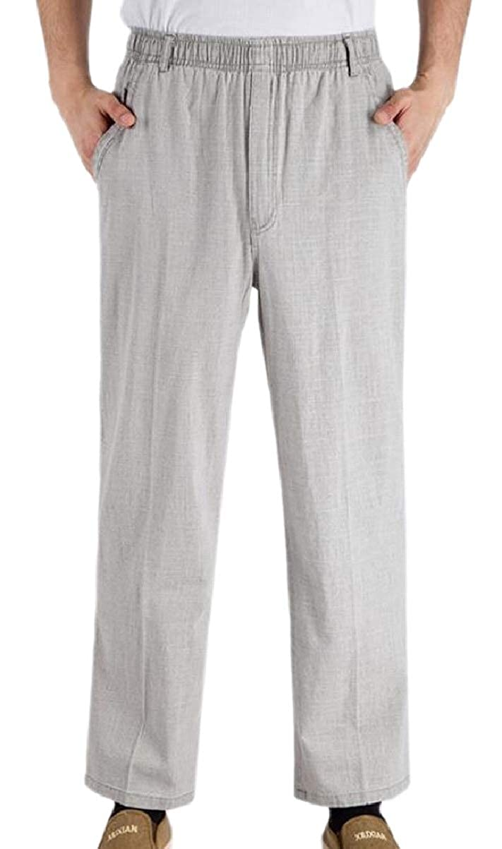 ZXFHZS Mens Straight Comfortable Elastic Waist Big and Tall Casual Pants