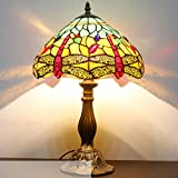 Red & Yellow Dragonfly 12inch Tiffany Table Lamp (Green) S009G12T02