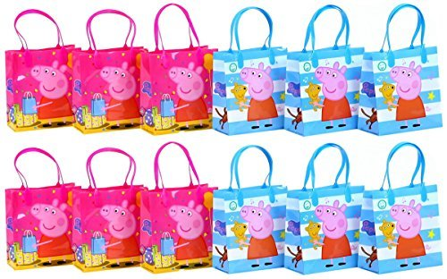 Peppa Pig Authentic Licensed Reusable Party Favor Goodie Small Gift Bags 12 -