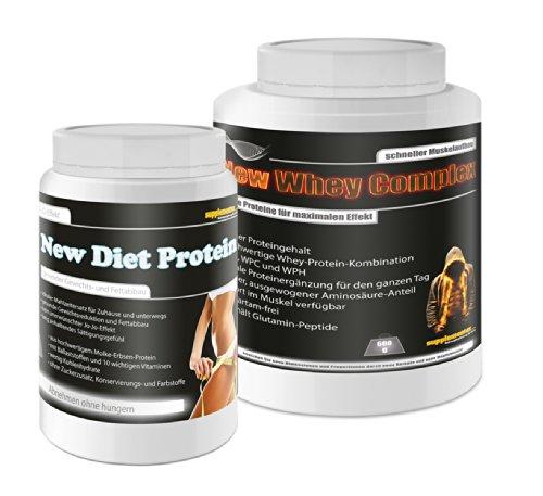 New Diet Protein 400g+New Whey Complex 600g! Diätdrink Gewichtsreduktion Molke- und Erbsenprotein Fettabbau Eiweiß anabol Eiweißhake Glutamin Abnehmen Geschmack Banane