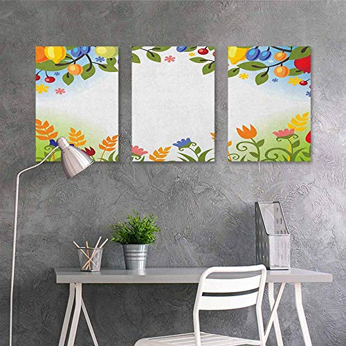 HOMEDD Canvas Print Artwork,Harvest Fall Nature Inspired Festive Colorful Frame Fruits and Flowers Berries Swirl Leaves,Easy Care Oil Painting 3 Panels,24x47inchx3pcs Multicolor
