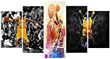 Basket Ball Player Motivational/Inspirational Fighter Spirit Canvas Painting/Prints - 5 piece Canvas For Office/Gym/Home/Living Room (20x35cm x 2, 20x45cm x 2, 20x55cm x 1)
