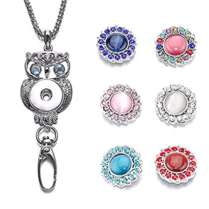 Soleebee 35 4'' Silver Chain Cute Owl ID Badge Lanyard Necklace Bonus 6pcs  Alloy Rhinestones Snap Buttons (Colorful Opal)