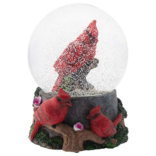 Elanze Designs Spring Blossom Cardinals 100MM Musical Water Globe Plays Tune Wonderful World
