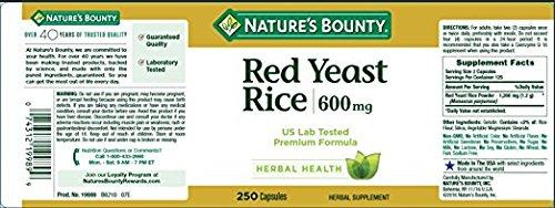 Nature's Bounty Red Yeast Rice 600 mg, 500 Capsules