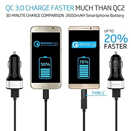 A-Clever Car Charger Adapter Quick Car Charger 3.0-4 Port USB 4-Port, White-Type C with USB C to Micro USB Adapter /&Micro USB Cable for iPhone X,8,7,7 Plus,iPad,Tablet,Samsung Galaxy Note8,S8,S