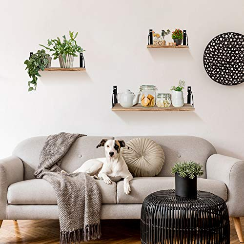 UHNDY Floating Shelves, Wall Mounted Set of 3, Paulownia Storage Shelf, Rustic Wood Wall Hanging Shelves, Above Storage for Kitchen, Bathroom, Living Room and Bedroom
