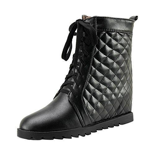 Mee Shoes Damen hidden heels mit Schnürsenkel kurzschaft Stiefel Schwarz