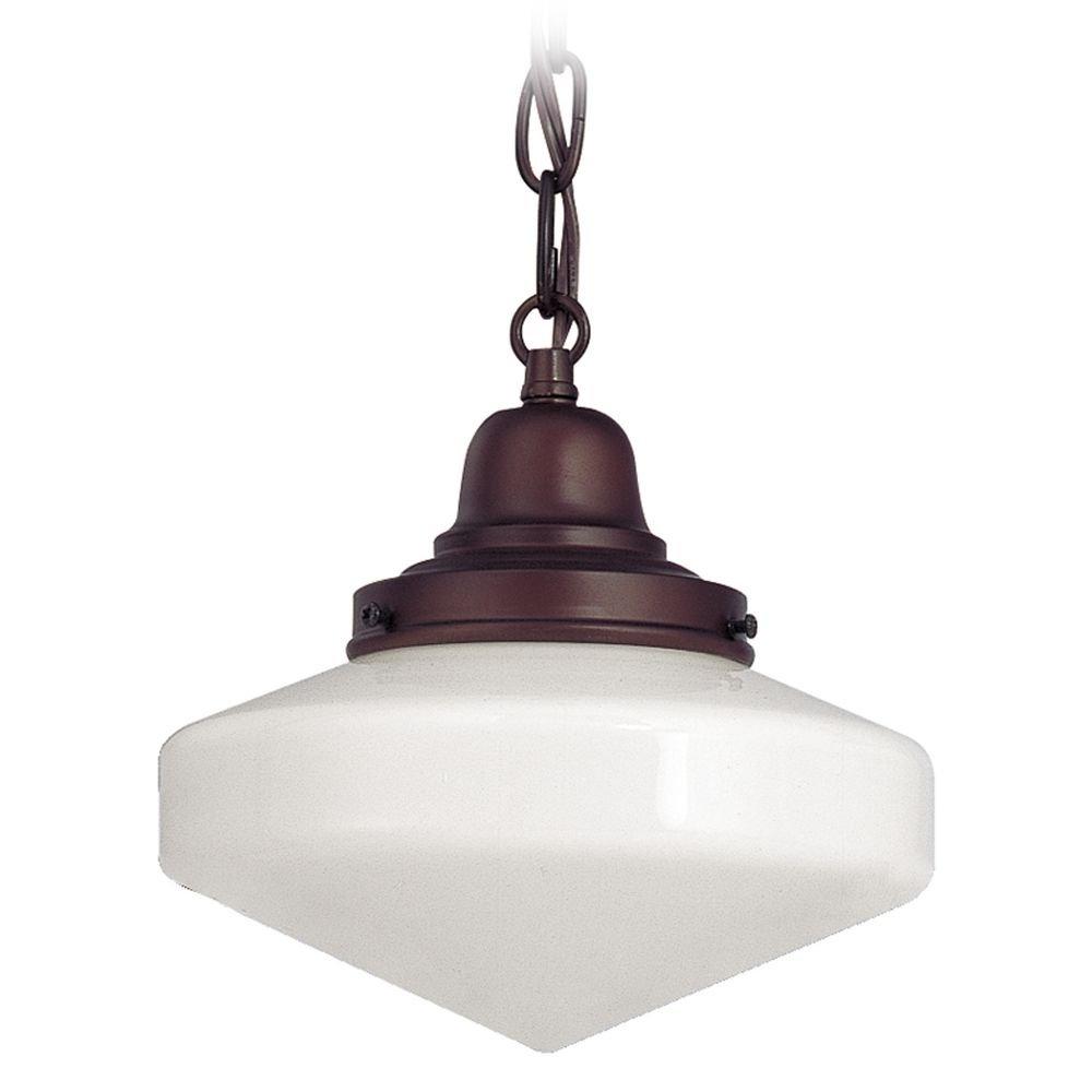 8-Inch Period Lighting Schoolhouse Mini-Pendant Light with Chain