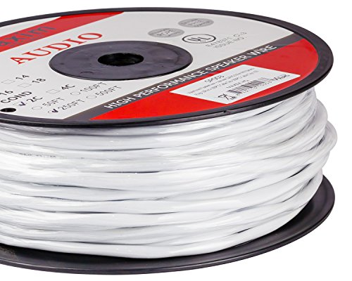 12AWG CL3 Rated 2-Conductor Wire White Oxygen Free Copper includes banana plugs cable clips and ties