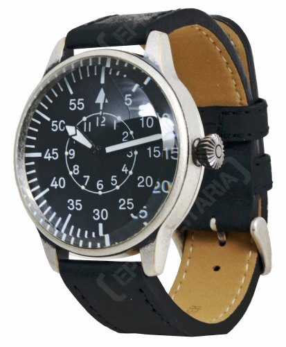 Mil-Tec Vintage Style WW2 Pilot Watch with Black Leather Strap ()