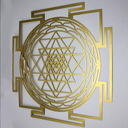 (Gold Sri Yantra Mandala Sacred Geometry by Atman Das. Laser Cut Wall Art Decor Meditation Symbol/Tool. Wealth, Good Fortune, Prosperity for Your Home/Temple. Awaken Consciousness (Brass, 13.5