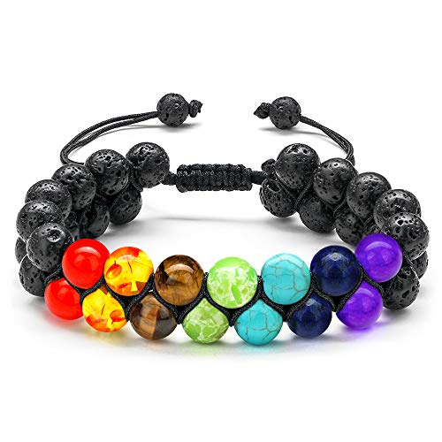 Pride Accessories Rainbow Chakra Bracelet - 7 Chakra Beaded Bracelet Rainbow Birthday Anniversary Pride Accessories Gifts for Women Men, Lava Rock Essential Oil Diffuser Anxiety Bracelet Jewelry