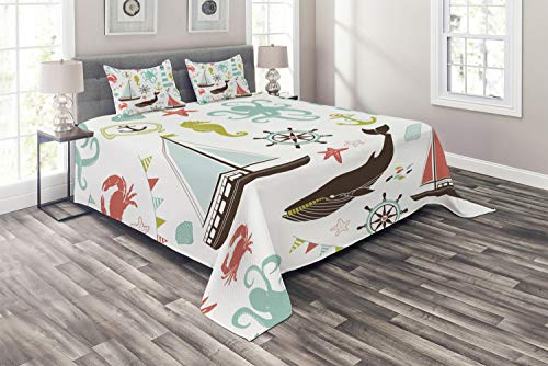 Ambesonne Nautical Coverlet, Pastel Colored Composition of Lighthouse Sailboat Fish Shells Octopus and Anchor, 3 Piece Decorative Quilted Bedspread Set with 2 Pillow Shams, Queen Size, Teal Brown (Colored Bedspreads Teal)