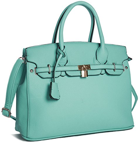 Big Handbag Shop Womens Faux Leather Designer Inspired Tote Shoulder Bag (Turquoise)
