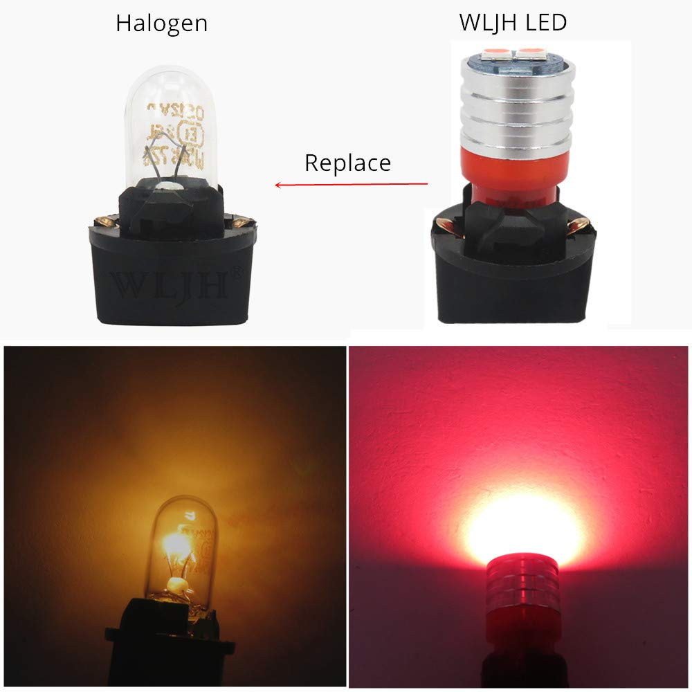 Red,Pack of 6 WLJH T10 Led Bulb PC194 PC195 PC168 Dash Lights Instrument Cluster Bulbs Lights Twist Locks Socket Base Dashboard Panel Gauge W5W 194 Led 12V Easy To Install