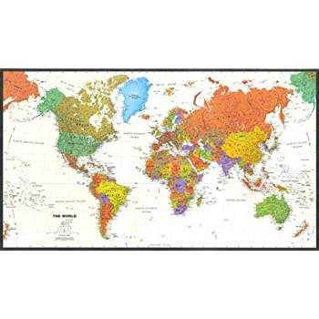 Contemporary World Map - Tyvek Paper