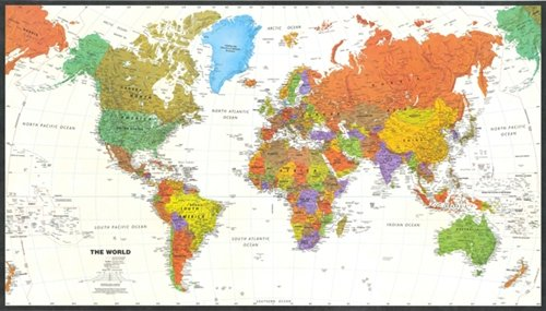 Amazoncom Contemporary World Map Tyvek Paper Office - World map labeled