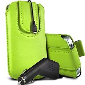 Nokia Lumia 822 premium protección PU botón magnético ficha de extracción Slip espinal en bolsa de la cubierta de piel de bolsillo rápido con 12v USB Micro en cargador del coche verde por Spyrox