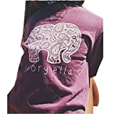 Mherl Women's Long Sleeve Crew Neck Cotton T-Shirt Elephant Print with Pocket
