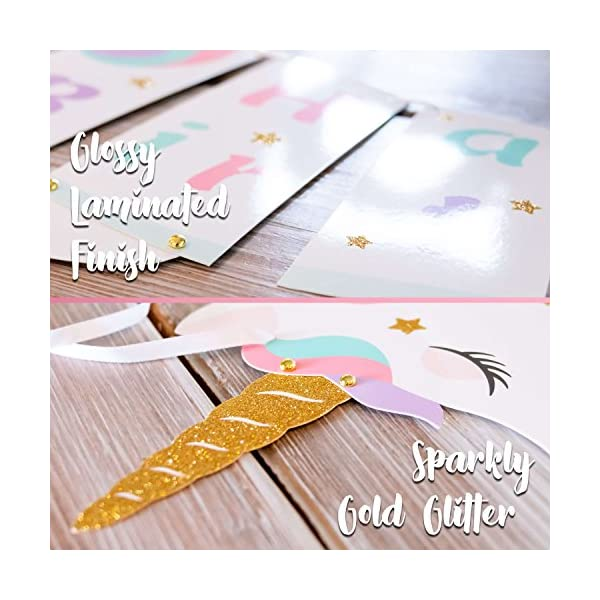 Unicorn Happy Birthday Banner - Unicorn Party Supplies Decorations - PREMIUM Unicorn Birthday Party Magical Pastel… 5
