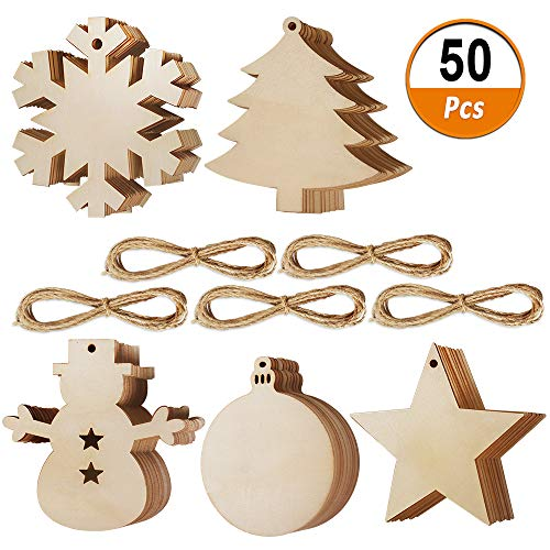 50 Pcs Wooden Christmas Ornaments Unfinished Wood Hanging Ornament Slices with Hole for Christmas Party Decorations, DIY Crafts