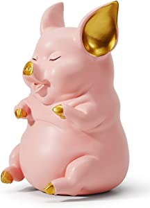 HAUCOZE Piggy Bank Coin Money Banks Sitting Pig Gifts Decor Statue for Baby Boys Girls Kids Resin Pink 21cmH