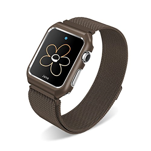 AHXLL Compatible for Apple Watch 38mm 42mm, Mesh Milanese Loop Stainless Steel Replacement iWatch + Metal Protective case for Apple Watch Series 3, Series 2, Series 1, Sport& Edition (Brown, 38MM)