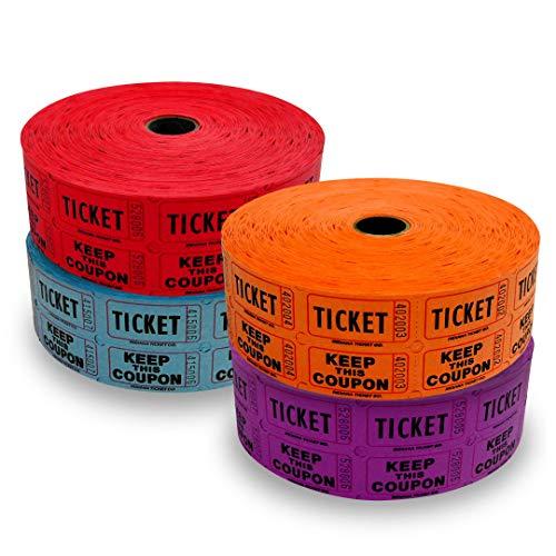 Raffle Tickets - 4 Rolls of 2000 Double Tickets 8, 000 Total 50/Raffle Tickets Dark Assorted Colors Red, Blue, Purple, Orange (Purple Roll Of Tickets)