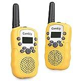 Camkiy Mini Walkie Talkie Boys Toy 3-5KM Range 22-Channel FRS/GMRS UHF 2 Way Radios Walkie-Talkie for Kids Yellow