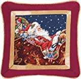 16'' Needlepoint Pillow - Santa with Sleigh