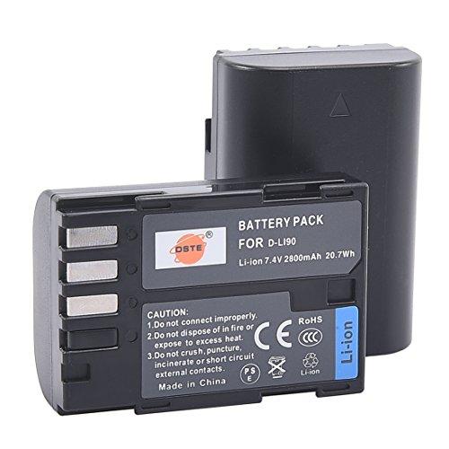 DSTE Replacement for 2X D-Li90 Li-ion Battery Compatible Pentax K-01 K-1 K-3 K-5 K-5II K-5IIs K-7 645D 645Z Camera as D-L90P