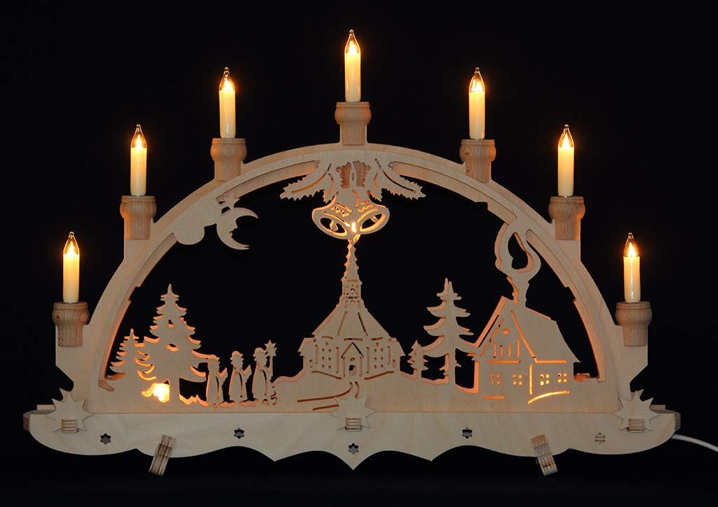 Schwibbogen Lichterbogen Erzgebirge Seiffener Kirche innenbeleuchtet mit offenen Kerzen