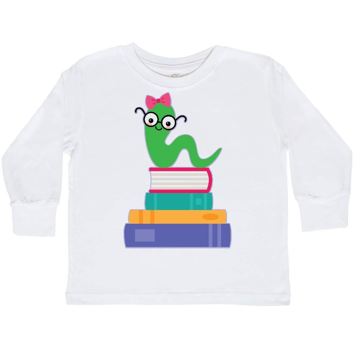 inktastic Bookworm Girls Reading Gift Toddler Long Sleeve T-Shirt