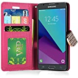 Wallet Pouch Cover Case for Samsung J3 Emerge J3 2017 SM-J327P SM-J327A,SAMSUNG GALAXY J3 EMERGE Wallet PU Leather Case (Walle Pink White Roses)