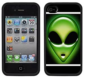 Alien Face We Are Not Alone Handmade iPhone 4 4S Black Case
