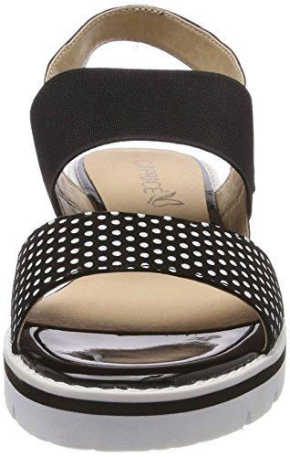 Nero 28702 con Dots Caviglia 33 Sandali Cinturino Donna Black Com alla Caprice 0xq1w71
