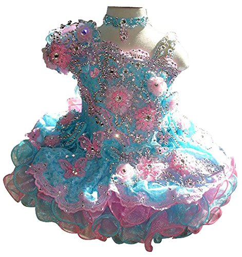 M_RAC Infant Girls' Flowers Mini Gowns Tutu Pageant Cupcake Dresses 1 Turquoise ()