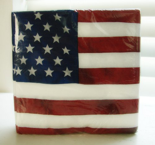 36 Ct! Luncheon Napkins US Pride Flag Independence Day 4th of July Picnic, Made in USA, (Flag Napkins)