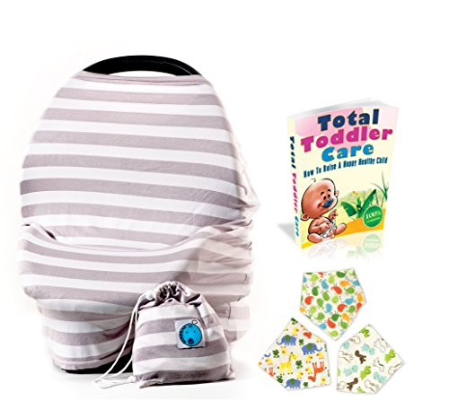 Clearance! Stretchy Infant Baby Car Seat Covers Canopy And Nursing Cover Multi-Use 4-1 Breastfeeding | GIFT BONUS Set 3 Bandana Drool Bibs | Multi-Use Stretchy Nursing Cover, Gray And White - Snap Baby Eye Fast