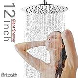 Artbath Extra Large 12 inch Rain Shower Head Fixed Mount Rainfall Shower Head Ultra Thin Stainless Steel Showerhead Adjustable Swivel 1/2 Ball Joint Chrome Fnished