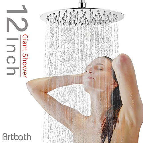 Artbath Extra Large 12 inch Rain Shower Head Fixed Mount Rainfall Shower Head Ultra Thin Stainless Steel Showerhead Adjustable Swivel 1/2 Ball Joint Chrome Fnished