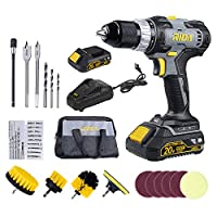 RIDA Drill Driver Set, 400 In-lbs 20V Cordless Drill, 2 x 2000mAh Lithium-ion Battery, 60 Minutes Fast Charger 2.4A, 1/2'' Metal Chuck, 0-1500RPM Variable Speed, 38Pcs Accessories