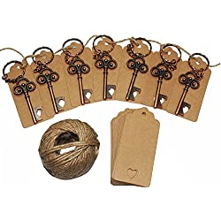 50Pcs Wedding Favors Skeleton Key Bottle Opener with 50pcs Escort Card Tag and Twine for Guests Party Favors Rustic(Bronze)