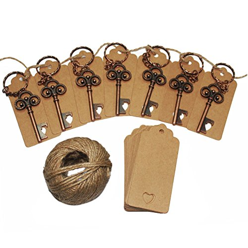 50Pcs Wedding Favors Skeleton Key Bottle Opener with 50pcs Escort Card Tag and Twine for Guests Party Favors (Happiness Wedding Favor)