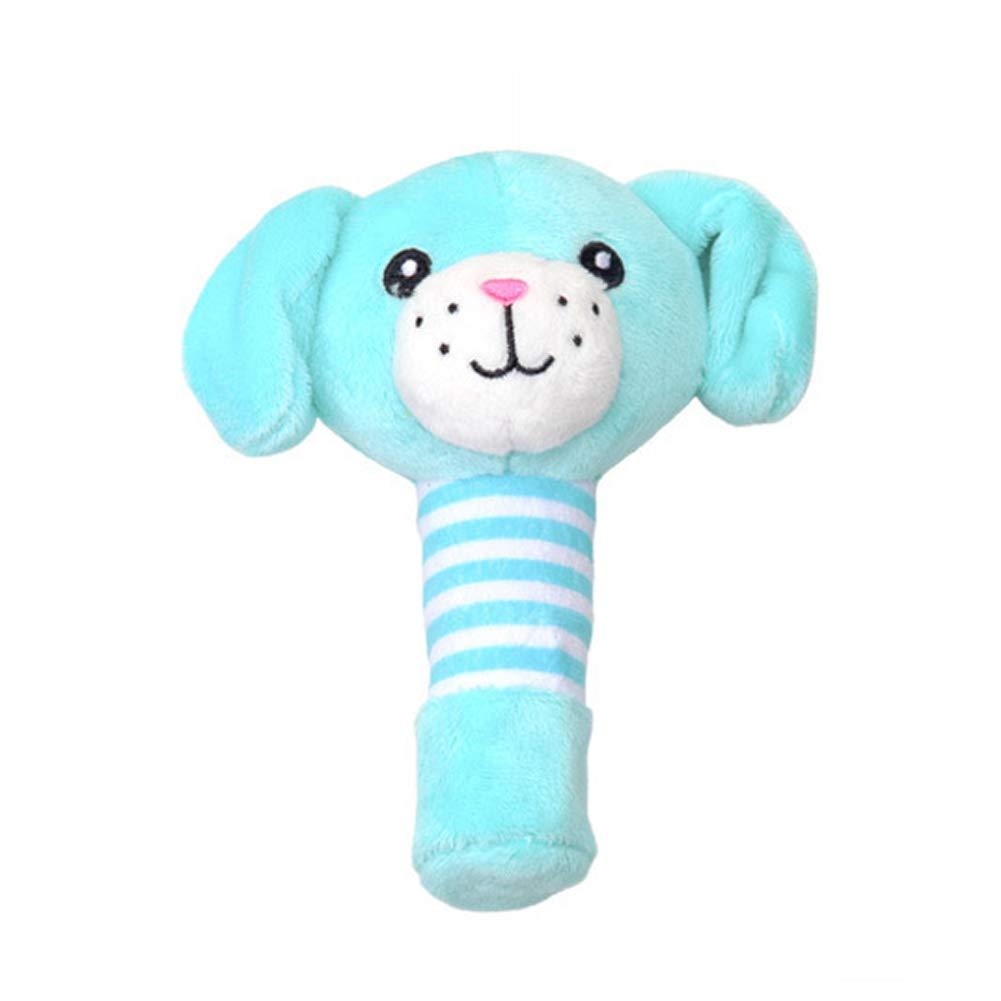 DDG EDMMS chiot Hochet lit de jouets en peluche suspendu, bébé poussette jouet lit de siège de voiture, jouet de développement de l'activité du nouveau-né, bébé unique Voyage suspendu bleu peluch