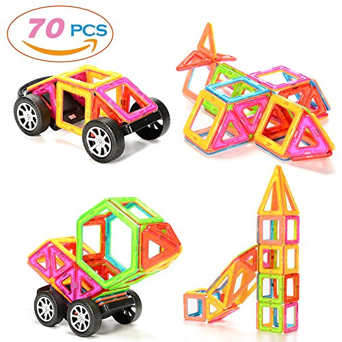 ThinkMax 70 Pieces Magnetic Building Blocks Set Educational Construction Stacking Toys Car Wheel Set