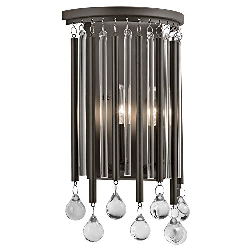 Espresso Piper 2 Light 8in. Wide ADA Compliant Wall Sconce with Metal and Crystal Shade