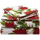 Tribeca Living Christmas Joy 5 oz Flannel Printed Extra Deep Pocket Sheet Set, Twin X-Large, Deep Red/Green